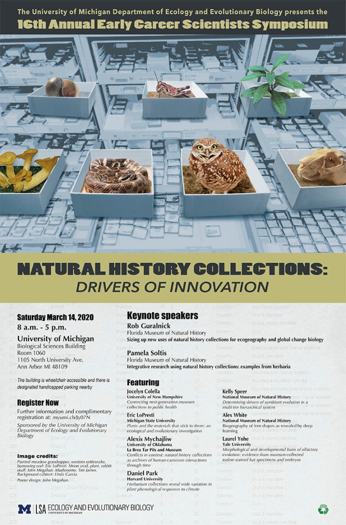 Alexis was invited as a speaker for the University Michigan's 16th Annual Early Career Scientists Symposium: Natural History Collections: Drivers of Innovation.