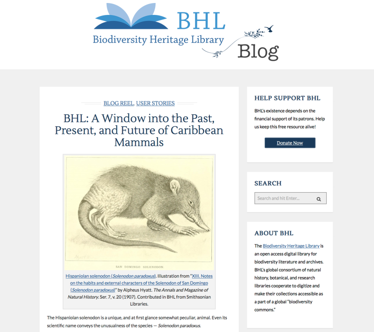 Check out our featured blog with the Biodiversity Heritage Library.